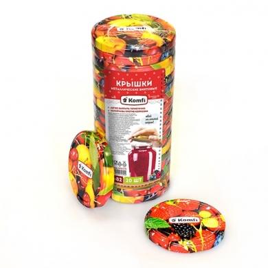 """Крышки винтовые d=82мм, в упаковке по 20 шт, """" фрукты микс """",  Komfi"""