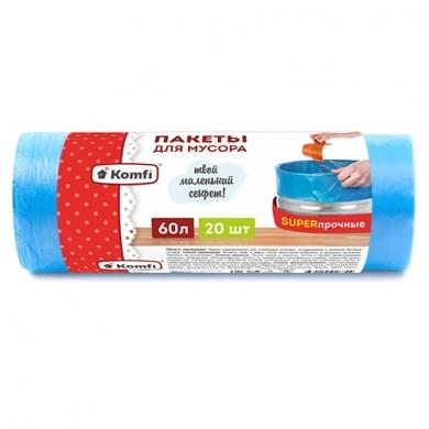 Пакет мусорный ПСД в рулоне 60л/20шт -SUPER прочные