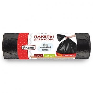 Пакет мусорный ПВД в рулоне (черные) 120л/10шт