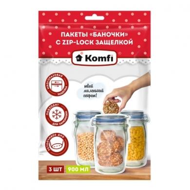 Пакеты «Баночки» с ZIP-LOCK c защелкой по (900 мл) 3 шт.,Komfi