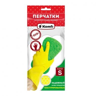 Перчатки хозяйственные латексные  без  Х/Б напыления  ТМ Komfi