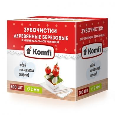Зубочистки Мятные в индивидуальной упаковке  Komfi