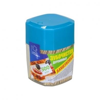 """Зубочистки в пластиковой баночке АДМ   """"Бамбук"""" 500 шт"""
