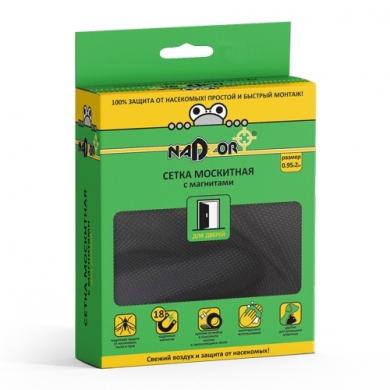 Сетка москитная 0,95*2м с магнитами черная  в коробочке Nadzor
