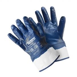 """Перчатки """"Повышенная стойкость к загрязнениям"""" хлопчатобумажные с полиэстером, нитриловое покрытие, манжета-крага, Fiberon, 10(XL)"""