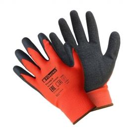 """Перчатки """"Надёжный захват скользких предметов"""" полиэстеровые, текстурированное латексное покрытие, Fiberon, 9(L)"""