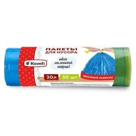 Пакет мусорный ПНД с завязками в рулоне 30л/30шт