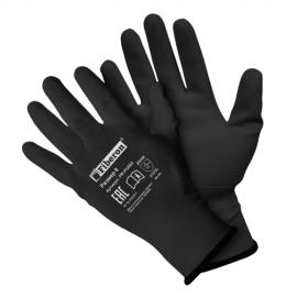 Перчатки «для точных работ» полиэстеровые, полиуретановое покрытие, черные, Fiberon