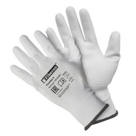 """Перчатки """"для точных работ"""" полиэстеровые, полиуретановое покрытие, белые, Fiberon"""