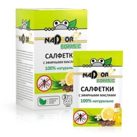 Салфетки влажные с эфирным маслом от комаров, 10 шт, Nadzor Botanic