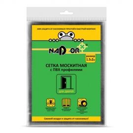 Сетка москитная с пвх профилями для дверных проемов,1,5*2 м  черная в пакете Nadzor