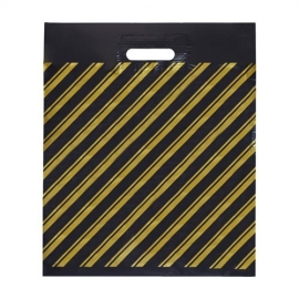 Пакет с прорубной ручкой ПВД (Золотая полоса) 30*40 см.
